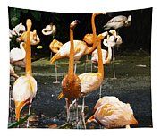 Oil Painting - A Number Of Flamingos With Their Heads Held High Inside The Jurong Bird Park Tapestry