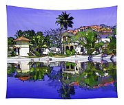 Oil Painting - Cottages And Lagoon Water Tapestry