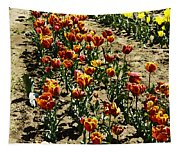 Oil Painting - Red And Yellow Tulips Inside The Tulip Garden In Srinagar Tapestry