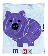 Oink The Pig License Plate Art Tapestry by Design Turnpike