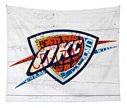 Okc Thunder Basketball Team Retro Logo Vintage Recycled Oklahoma License Plate Art Tapestry