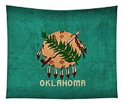 Oklahoma State Flag Art On Worn Canvas Tapestry