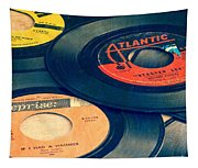 Old 45 Records Square Format Tapestry