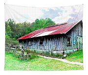 Old Barn Along Golden Road Filtered Tapestry