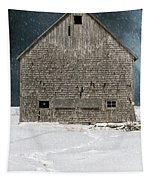 Old Barn In A Snow Storm Tapestry