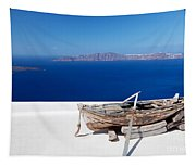 Old Boat On The Roof Of The Building On Santorini Greece Tapestry