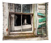 Old Broken Window And Shutter Of An Abandoned House Tapestry