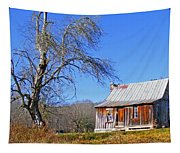 Old Cabin And Tree Tapestry