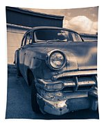 Old Car In Front Of Garage Tapestry