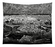 Old City Of Toledo Bw Tapestry