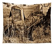 Old Farm Tractor In Sepia 1 Tapestry