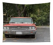 Old Ford Galaxy In The Rain Tapestry