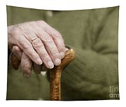 Old Hands Of A Senior On Walking Stick Tapestry