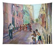 Old Havana Street Life - Sale - Large Scenic Cityscape Painting Tapestry