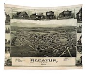 Old Map Of Decatur Texas 1890 Tapestry