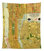 Old Map Of New York Central Railroad Manhattan Map 1918 Tapestry