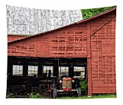 Old Massey Ferguson Red Tractor In Barn Tapestry