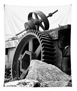 Old Mill Of Guilford Gears Black And White Tapestry