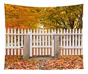 Old New England White Picket Fence Tapestry