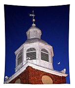 Old Otterbein Umc Moon And Bell Tower Tapestry