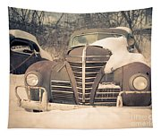 Old Plymouth Classic Car In The Snow Tapestry