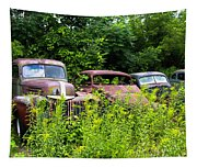 Old Rusty Cars Tapestry