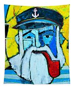 Old Sailor With Pipe Expressionist Portrait Tapestry