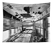 Old School Bus In Motion Bw Hdr Tapestry