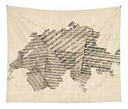 Old Sheet Music Map Of Switzerland Map Tapestry