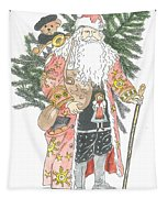Old Time Santa With Teddy Tapestry