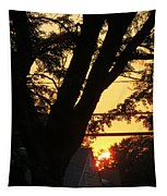 Old Tree And Sunset Tapestry