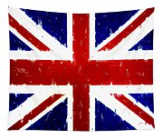 Old United Kingdom Flag Original Acrylic Palette Knife Painting Tapestry