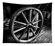 Old Wagon Wheel Black And White Tapestry