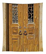 Old Weathered Brown Wood Door Of Portugal Tapestry