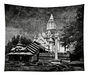Old Whitewashed Lemyethna Temple Bw Tapestry