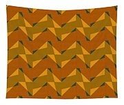 Olive Green And Orange Chevron Collage Tapestry