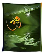 Om On Green With Dew Drop Tapestry