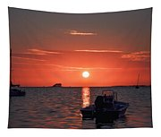 On The Gulf At Sunset Tapestry