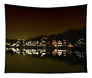 On The River At Night -  Boathouse Row Tapestry