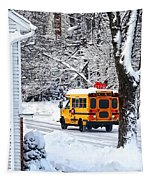 On The Way To School In Winter Tapestry