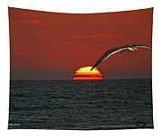 One Black Skimmers At Sunset Tapestry