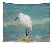 One With Nature - Snowy Egret Tapestry