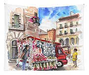 Onion And Garlic Street Seller In Siracusa Tapestry