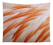 Orange And White Feathers Of A Flamingo Tapestry