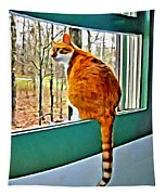 Orange Cat In Window Tapestry
