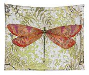 Orange Dragonfly On Vintage Tin Tapestry