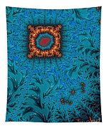 Orange On Blue Abstract Tapestry