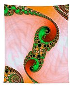Orange Red And Green Abstract Fractal Art Tapestry