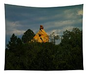 Orange Rock Among The Trees Tapestry