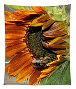 Orange Sunflower And Bee Tapestry